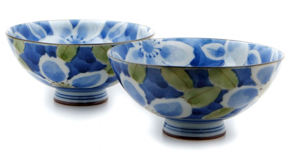 Blue Sakura bowls Japanese & two